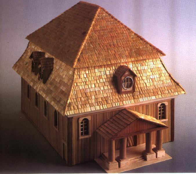 Wooden model of the Kornik synagogue made by Moshe Verbin